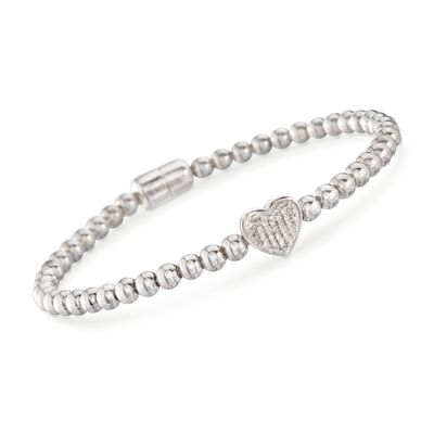 Diamond Heart Bracelet With Sterling Silver Beads, , default