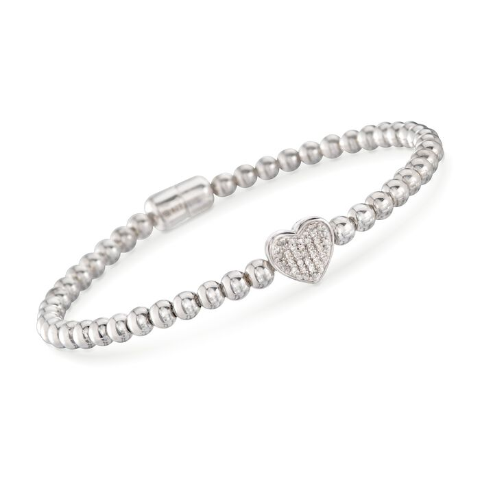 "Diamond Heart Bracelet With Sterling Silver Beads. 7"", , default"