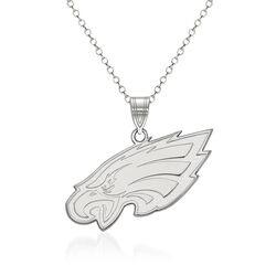 """Sterling Silver NFL Philadelphia Eagles Pendant Necklace. 18"""", , default"""