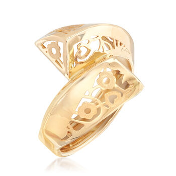 Italian 18kt Yellow Gold Flower Bypass Ring, , default