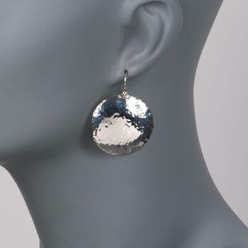 Sterling Silver Hammered Disc Earrings, , default