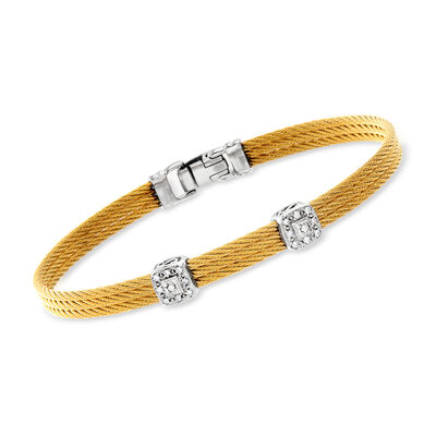 "ALOR ""Classique"" Yellow Stainless Steel Cable Double-Station Bracelet with Diamonds and 18kt White Gold, , default"
