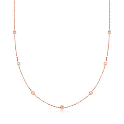 .20 ct. t.w. Diamond Station Necklace in 14kt Rose Gold, , default