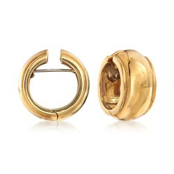 "C. 1980 Vintage 18kt Yellow Gold Hoop Earrings. 5/8"", , default"
