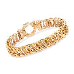 """Italian 18kt Gold Over Sterling Interlocking Circle-Link Bracelet. 7.5"""", , default"""