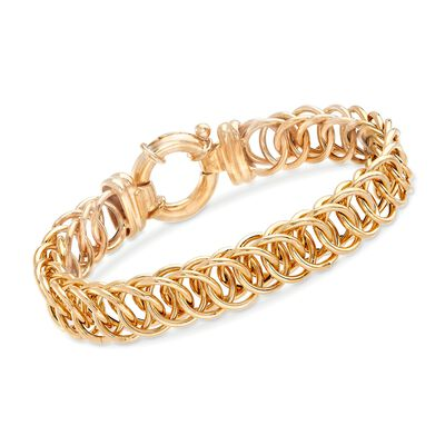 Italian 18kt Gold Over Sterling Interlocking Circle-Link Bracelet, , default
