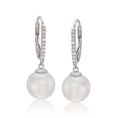 10mm Cultured Pearl and .10 ct. t.w. Diamond Earrings in 14kt White Gold, , default