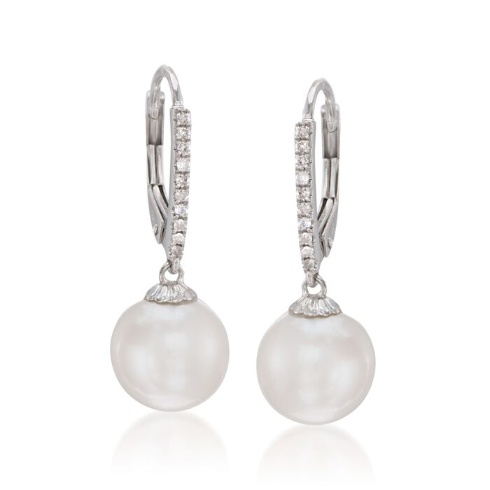 10mm Cultured Pearl and .10 ct. t.w. Diamond Earrings in 14kt White Gold