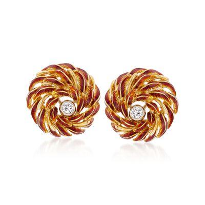 C. 1970 Vintage .40 ct. t.w. Diamond and Enamel Flower Earrings in 18kt Yellow Gold, , default