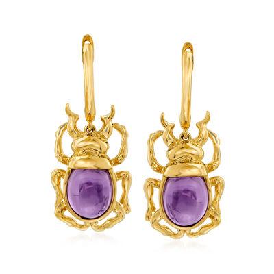 3.80 ct. t.w. Amethyst Beetle Drop Earrings in 14kt Yellow Gold, , default