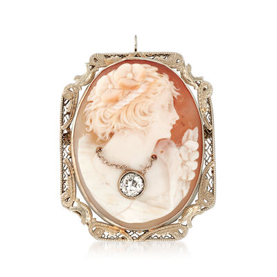 C. 1930 Vintage Pink Shell Cameo and .40 ct. t.w. Diamond Pin Pendant in 14kt White Gold, , default