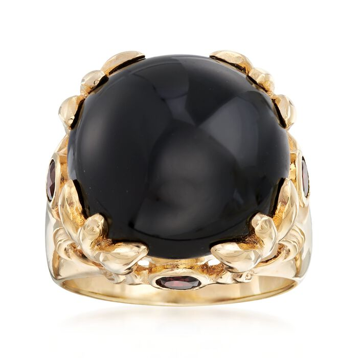 Cabochon Black Onyx and 2.00 ct. t.w. Garnet Ring in 18kt Gold Over Sterling. Size 5, , default