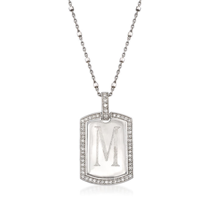 Sterling Silver Personalized ID Tag Necklace with .30 ct. t.w. Diamonds, , default