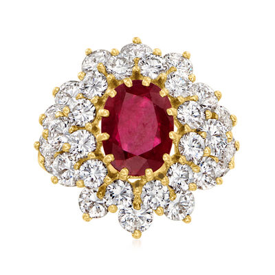 C. 1980 Vintage 2.00 Carat Ruby and 3.00 ct. t.w. Diamond Ring in 18kt Yellow Gold