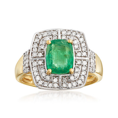1.20 Carat Zambian Emerald and .30 ct. t.w. Diamond Ring in 14kt Yellow Gold, , default