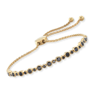 1.00 ct. t.w. Bezel-Set Black Diamond Bolo Bracelet in 18kt Yellow Gold Over Sterling