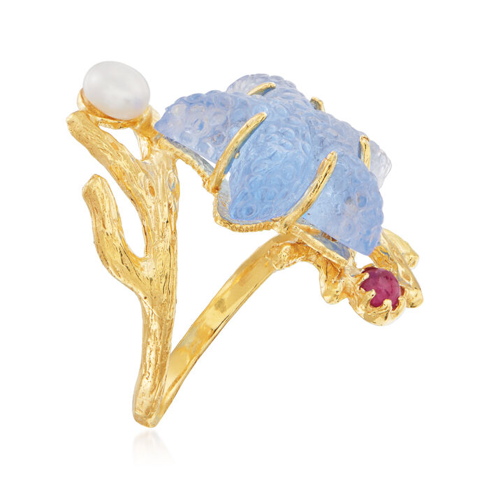 Italian Blue Venetian Glass Starfish Ring with .10 Carat Ruby and Cultured Pearl in 18kt Gold Over Sterling