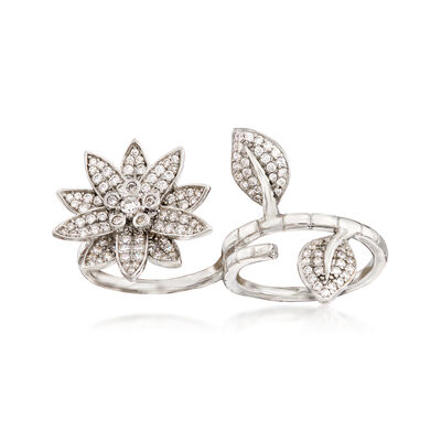 2.52 ct. t.w. CZ Floral Two-Finger Ring in Sterling Silver, , default