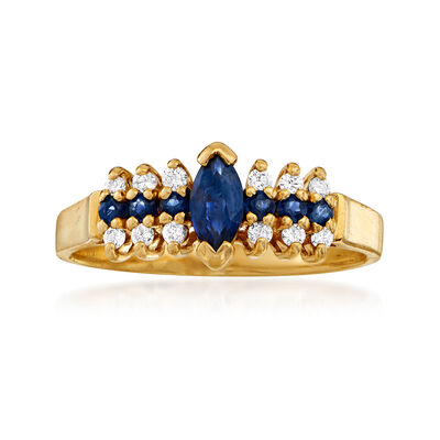 C. 1990 Vintage .50 ct. t.w. Sapphire and .15 ct. t.w. Diamond Ring in 14kt Yellow Gold, , default