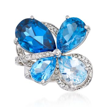 10.50 ct. t.w. Tonal Blue Topaz and .34 ct. t.w. Diamond Cluster Ring in 14kt White Gold, , default