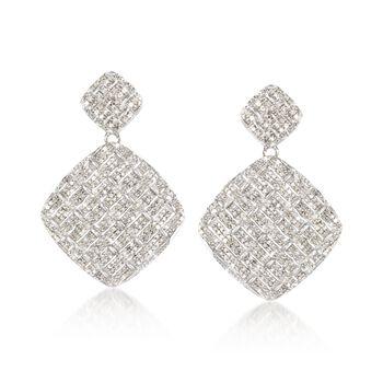 2.05 ct. t.w. Pave Diamond Woven-Pattern Drop Earrings in Sterling Silver , , default