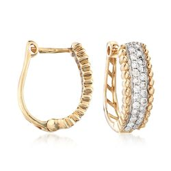 ".48 ct. t.w. Diamond Hoop Earrings in 14kt Yellow Gold. 1/2"", , default"