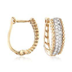 .48 ct. t.w. Diamond Hoop Earrings in 14kt Yellow Gold, , default