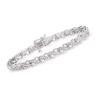 1.00 ct. t.w. Diamond Infinity-Style Bracelet in 14kt White Gold
