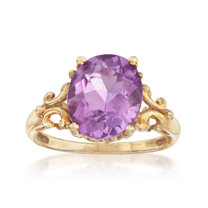 C. 1990 Vintage 4.00 Carat Amethyst Ring in 10kt Yellow Gold. Size 7, , default