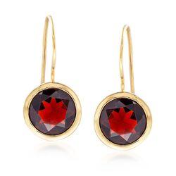 6.25 ct. t.w. Bezel-Set Garnet Drop Earrings in 18kt Gold Over Sterling , , default