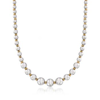 Italian Two-Tone Sterling Silver Bead Necklace, , default
