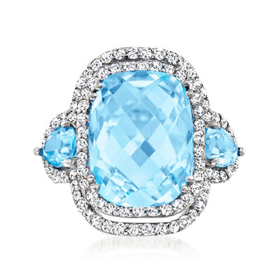 12.60 ct. t.w. Blue Topaz and 1.15 ct. t.w. Diamond Ring in 14kt White Gold