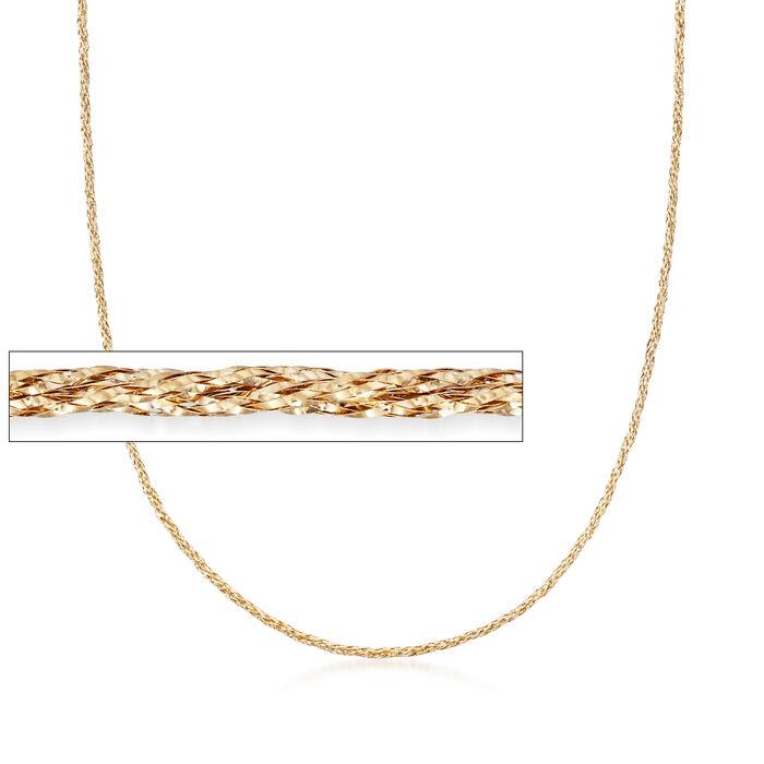 Italian 14kt Yellow Gold Mesh Necklace, , default