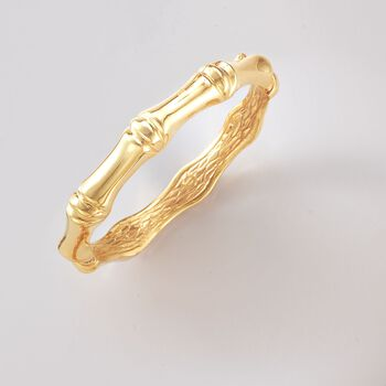 Italian 18kt Yellow Gold Bamboo-Style Bangle Bracelet, , default
