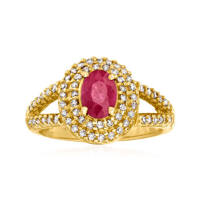 C. 1980 Vintage .90 Carat Ruby and .50 ct. t.w. Diamond Ring in 14kt Yellow Gold