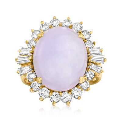 C. 1980 Vintage Lavender Jade and 1.60 ct. t.w. Diamond Ring in 14kt Yellow Gold