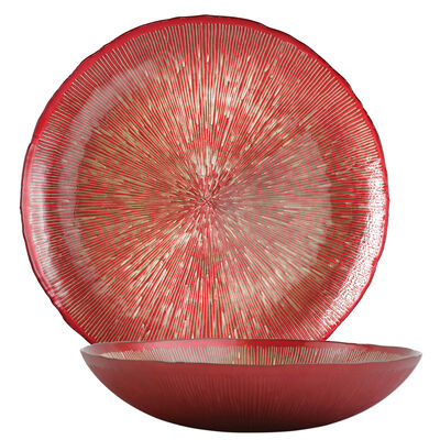 "Vietri ""Festa"" Red and Metallic Glass Round Serveware from Italy"