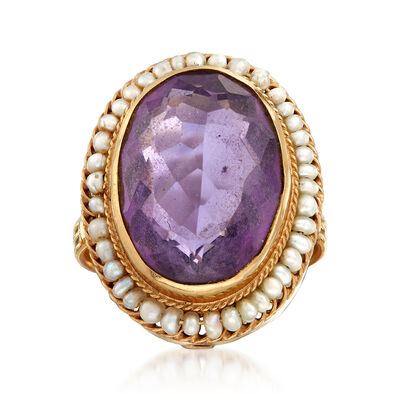 C. 1950 Vintage Cultured Pearl and 8.55 Carat Amethyst Ring in 14kt Yellow Gold, , default