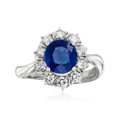 C. 2000 Vintage 1.84 Carat Sapphire and .66 ct. t.w. Diamond Ring in Platinum, , default