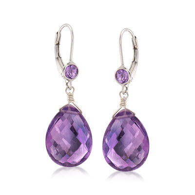 14.80 ct. t.w. Amethyst Drop Earrings in Sterling Silver