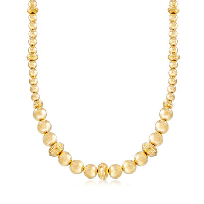 Italian Andiamo Graduated Bead and Textured Rondelle Necklace in 14kt Yellow Gold, , default