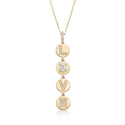 ".56 ct. t.w. Diamond ""Love"" Circle Disc Pendant Necklace in 14kt Yellow Gold, , default"