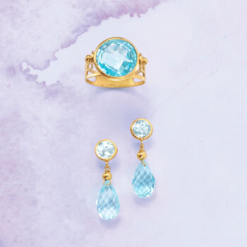 13.20 ct. t.w. Sky Blue Topaz Drop Earrings in 14kt Yellow Gold, , default
