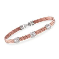 "ALOR ""Classique"" .14 ct. t.w. Diamond Triple-Station Rose Cable Bracelet With 18kt White Gold. 7"", , default"
