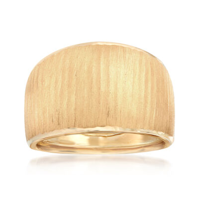 Italian 14kt Yellow Gold Satin and Polished Dome Ring, , default
