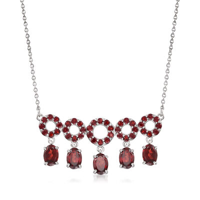 6.40 ct. t.w. Garnet Open-Circle Drop Necklace in Sterling Silver