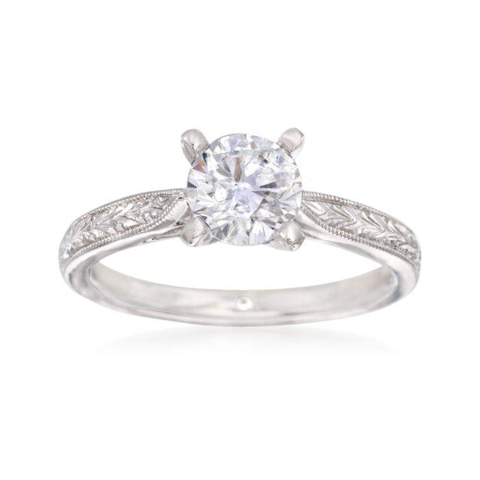 Gabriel Designs 14kt White Gold Engagement Ring Setting. Size 6.5, , default