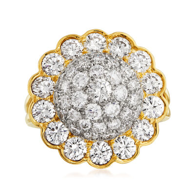 C. 1980 Vintage 3.85 ct. t.w. Diamond Cluster Flower Ring in Platinum and 18kt Yellow Gold, , default