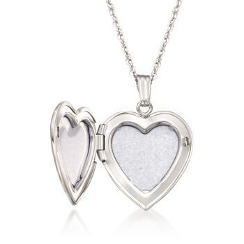 """Sterling Silver Engraved Heart Locket Necklace. 18"""""""