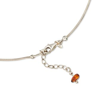 "Orange Amber Teardrop Pendant Necklace in Sterling Silver. 18"", , default"